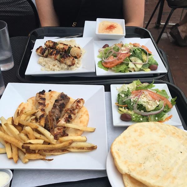 Gluten Free Pita Bread with chicken and pork kebabs!