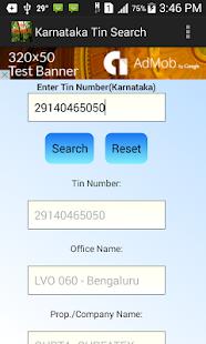 Tin number search (Karnataka) screenshot