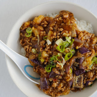 Spicy Pork and Eggplant Donburi