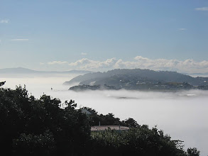 Photo: Fog shrouds Wellington Harbour and the airport - 12:18pm, 19-May-05