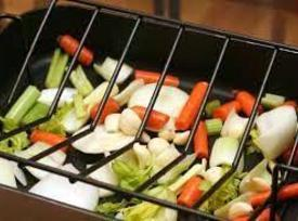 In a large roasting pan place most of the onions, carrots, celery, garlic and...