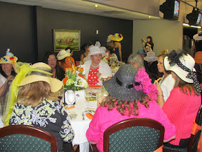 Photo: Atendees at the Wine Women and Horses event enjoy lunch at the Turf Club Terrace
