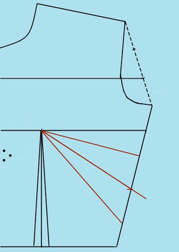 Marcando pinza lateral grande en forma diagonal