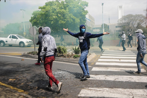 FILE PICTURE: Protesting students during the fees must fall protest at the Wits University Campus in Johannesburg.