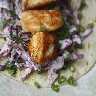 Seared Fish Tacos with Cabbage-Scallion Slaw.