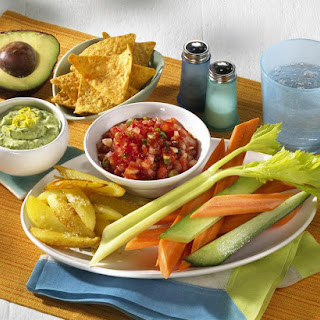 Potato Wedges and Crudites with Avocado Mousse and Tomato Salsa,.