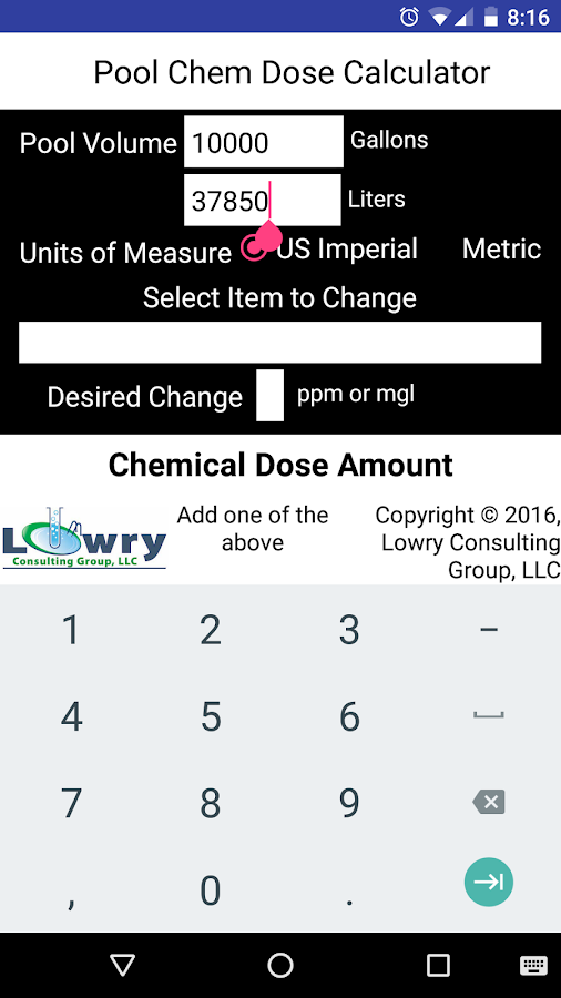Pool Chem Dose Calculator- screenshot