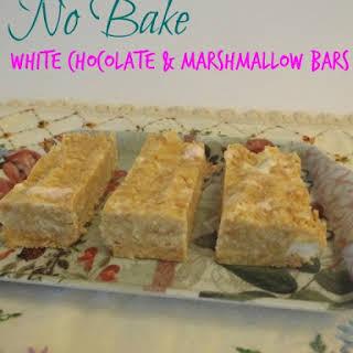 No Bake White Chocolate & Marshmallow Bars.