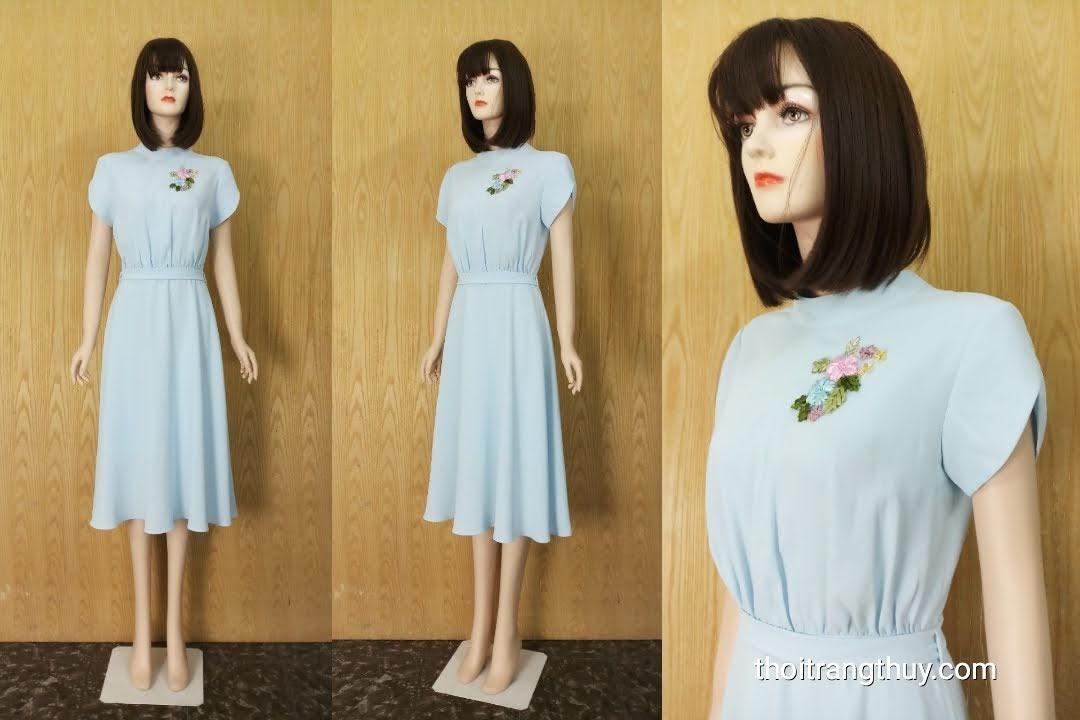 Váy xòe midi tay sẻ cổ kiềng đính hoa V608 Thời Trang Thủy