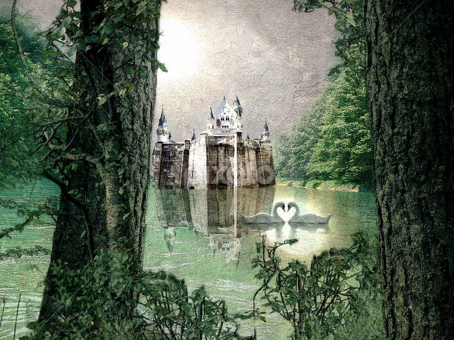 The Castle of Riverdale by Bjørn Borge-Lunde - Digital Art Abstract ( fantasy, swan, castle, romance, fairytale )
