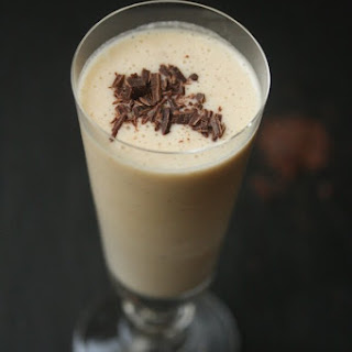 Healthy Peanut Butter Banana Smoothie with Cacao Nibs.
