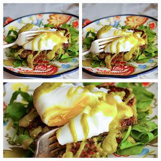 MacKellar Farms & Edamame Quinoa Cakes W Egg and Spicy Avocado Sauce