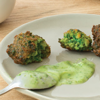 Spinach and Chickpea Spoon Fritters with Creamy Cilantro Avocado Sauce