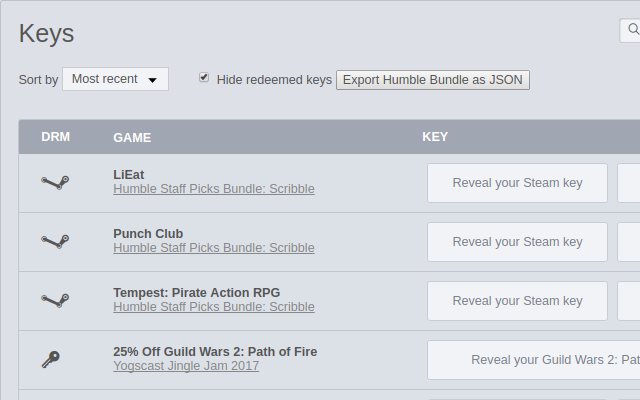 Export HumbleBundle Library to JSON