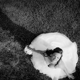 Dreamy by Matt Holley - Wedding Bride ( bride, wedding dress, wedding, black and white, dreamy,  )