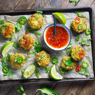 Thai-Style Shrimp Cakes With Sweet Chili Dipping Sauce.