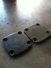 Photo: Original and new oil pump covers. Notice that the new cover doesn't have the shapes.