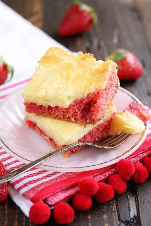 """Strawberry Chess Bars""""Start with a boxed strawberry cake mix, add in some..."""