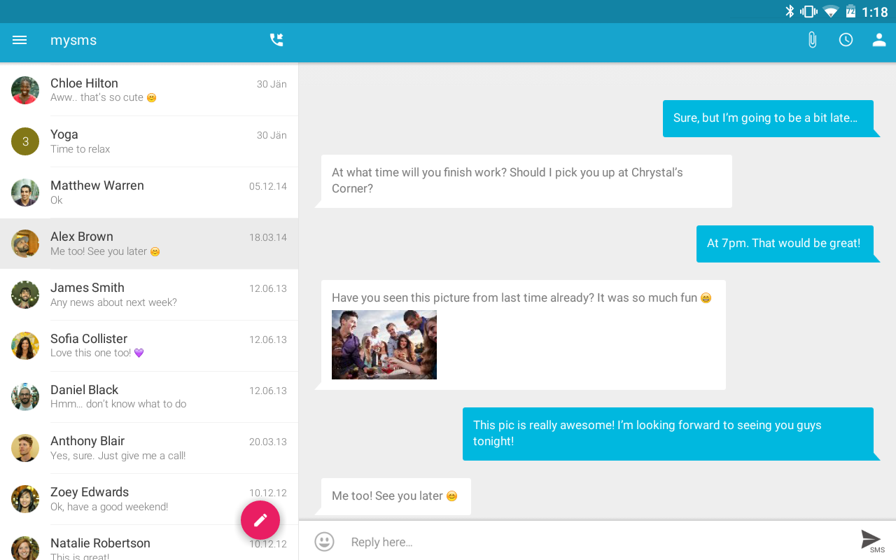 SMS Texting from Tablet & Sync- screenshot