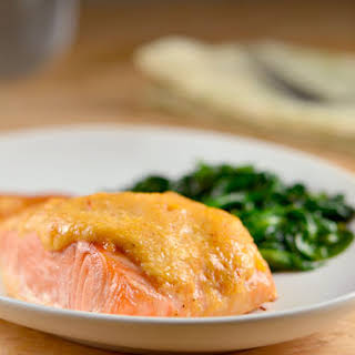 Baked Salmon with Sweet Chili-Mayo Topping.