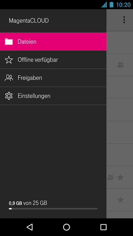 MagentaCLOUD – Screenshot