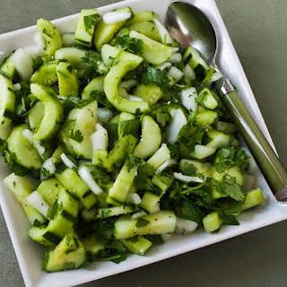 Asian Cucumber Salad with Cilantro and Vidalia Onions.