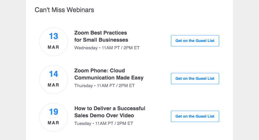 zoom's webinars help customers solve problems before they churn.