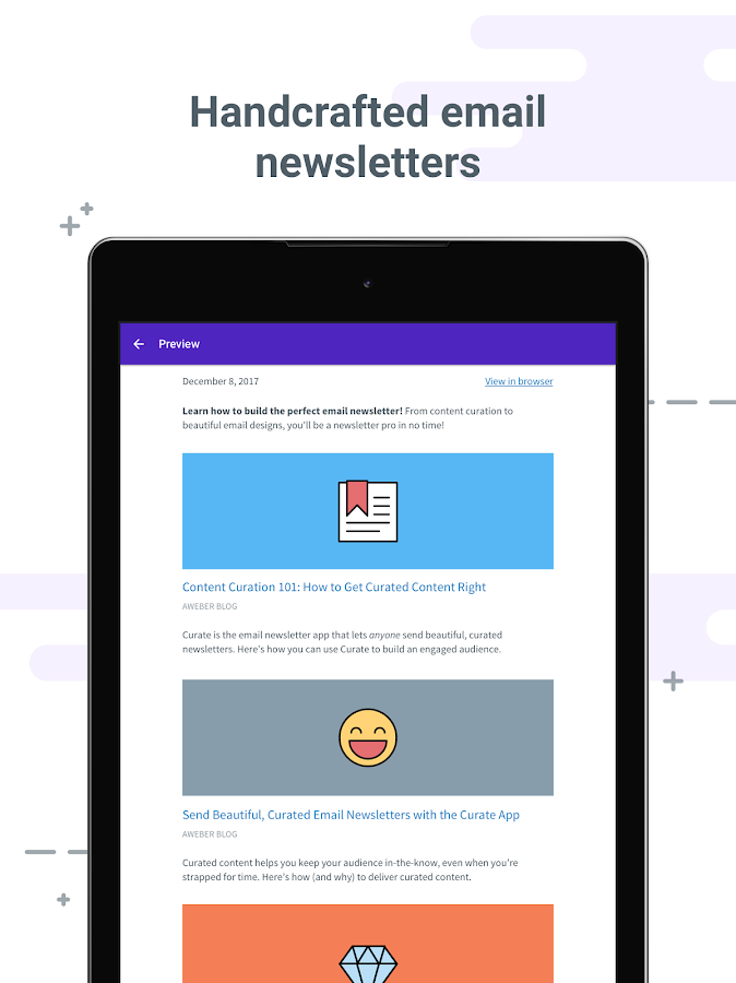 Curate – Email newsletters- screenshot