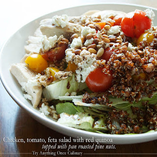 Chicken, Tomato, Feta Salad with Red Quinoa.