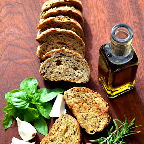 Food for the body and soul II by Daniela Elena - Food & Drink Ingredients ( basil appetizer, extra virgin olive oil, galic bread, snack, rosemary )