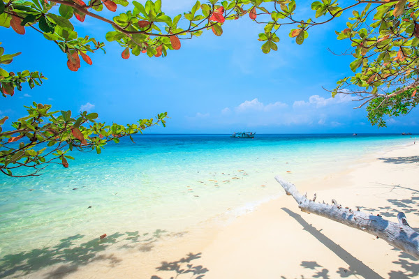 Relax at white powdery sand beaches