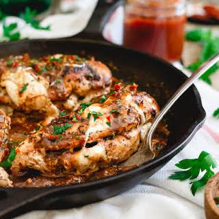 Tomato Butter Mozzarella Stuffed Chicken Marsala.