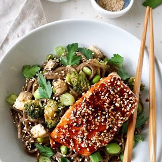 Easy Glazed Salmon with Soba Noodles, Broccoli & Edamame.