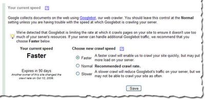 Google Webmaster tools crawl rate request