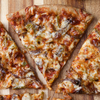 Thin Crust Guinness Pizza with Shredded Beef, Mushrooms and Peppers