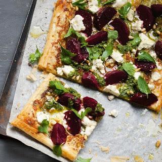 Beetroot And Feta Filo Pizza.