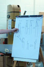 Photo: Steve drew the steps of forging the hook tool.  Here he shows the starting rod next to it's drawing.