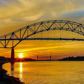 Cape Cod Canal Bridges by Carl Albro - Buildings & Architecture Bridges & Suspended Structures ( sunset, bridges, canal )