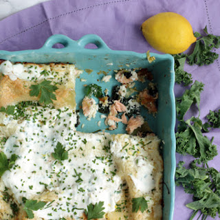 Superfood Salmon Lasagna with Kale and Spinach.
