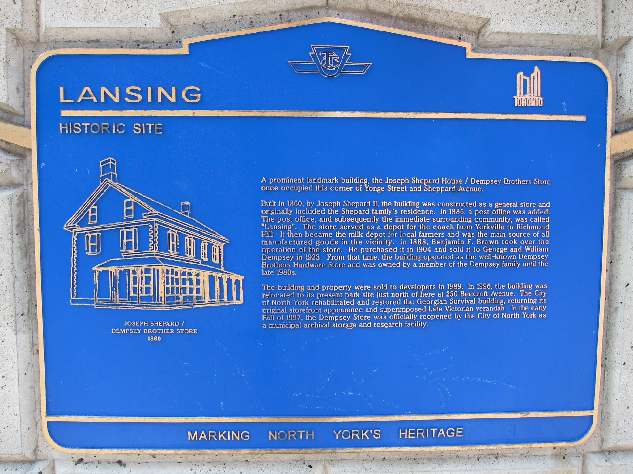 Photo: Historical TTC commemorative plaque north west corner of Yonge and Sheppard.  A 1955 photo of the Joseph Shepard house in its original location may be viewed here: http://static.torontopubliclibrary.ca/da/images/LC/2001-2-55p.jpg