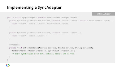 Photo: For client-side updates, there's an excellent - if under-used - API called the SyncAdapter. It's relatively simple to implement, just extend the AbstractThreadedSyncAdapter and override the onPerformSync method. The SyncAdapter will handle threading, queuing, and batching to ensure your syncs happen, and happen efficiently.