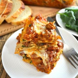 Beef, Spinach, & Mushroom Lasagna.