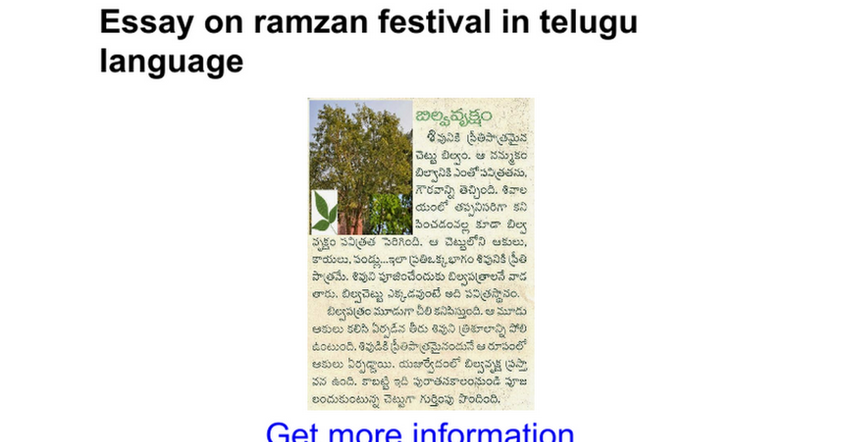 essay on ramzan festival in telugu language google docs