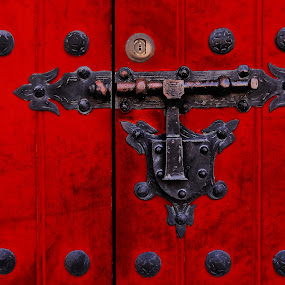 The red door by Ana Paula Filipe - Artistic Objects Antiques ( red, door, metal, close, object,  )