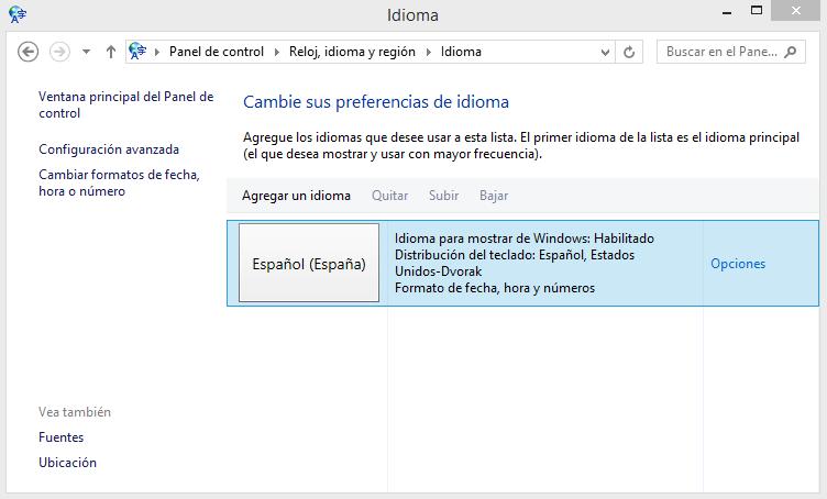 Panel de control - Windows 8.1