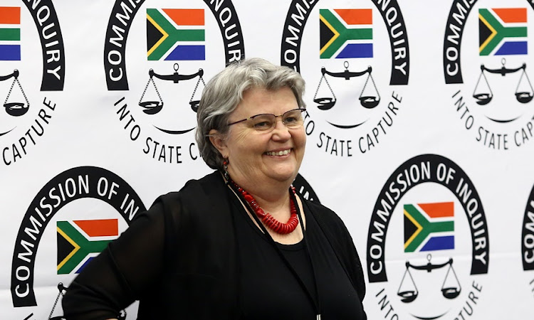 Former public enterprises minister Barbara Hogan smiles at the state capture inquiry before giving evidence for the third day on Wednesday. Picture: MASI LOSI