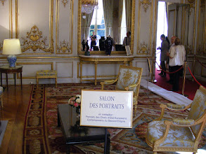 Photo: The Salon des Portraits, under Napoleon III, was named after the eight portraits of heads of State of the time that are placed on the upper walls, and so not visible here. It has recently been used as the president's private study.