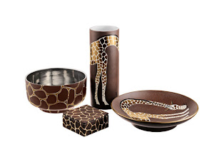 """Photo: WAYLANDE GREGORY Exclusively ours. """"Giraffe Collection"""" handcrafted ceramics. Bowl, 5.5″ high, 9″ diameter. $795. Lidded box, 4.5″ x 4.5″. $250. Cylinder vase, 12″ high, 4.5″ diameter. $450. Large bullet bowl, 12″ diameter. $650. Imported. Seventh Floor. 212 872 2686"""