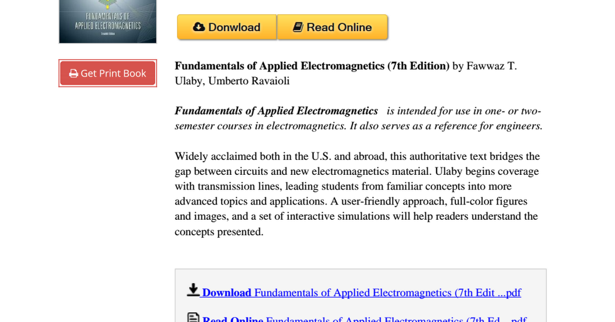 Fundamentals applied electromagnetics 7th edition 0133356817pdf fundamentals applied electromagnetics 7th edition 0133356817pdf google drive fandeluxe Choice Image