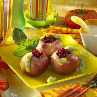 Baked Apples with Marzipan Worms